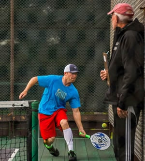 Playing left handed platform tennis